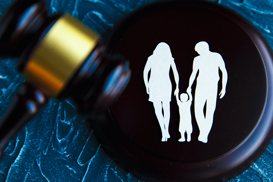 Family image and a gavel. Family law concept
